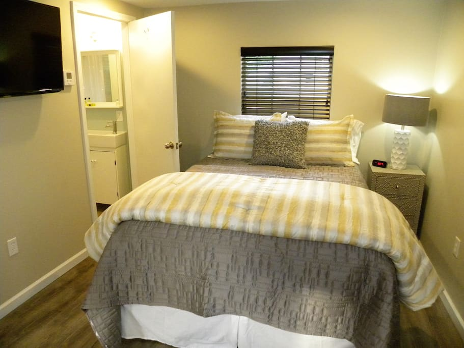 Sleep your cares away with this Stearns & Foster mattress, designer linens, and smart tv. The new central heat/air will keep you nice and cozy no matter what season it is