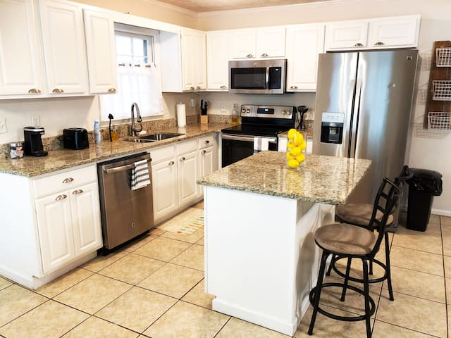 Renovated open kitchen fully stocked