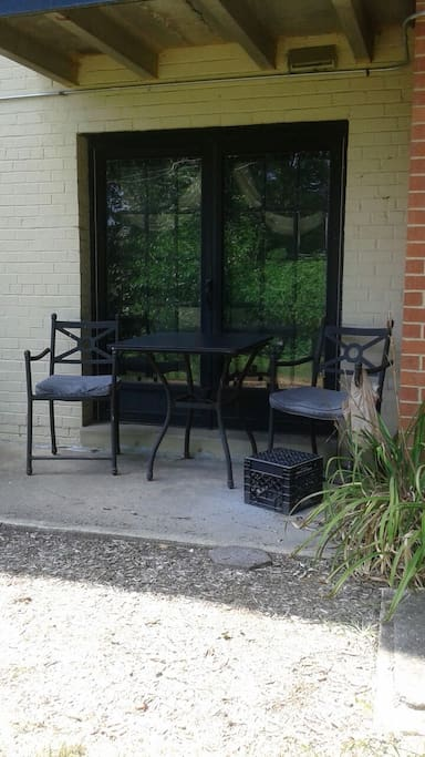 Furnished patio to read, drink coffee, wine, smoke or just relax
