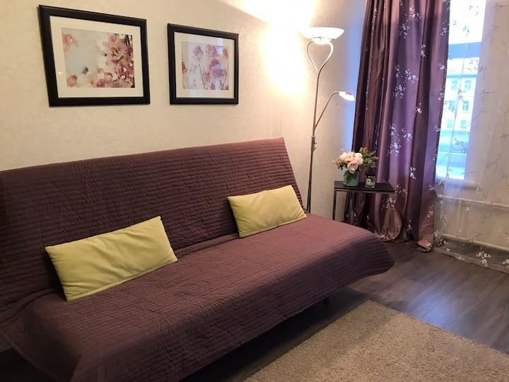 Светлая 1-комнатная квартира на реке Пряжке