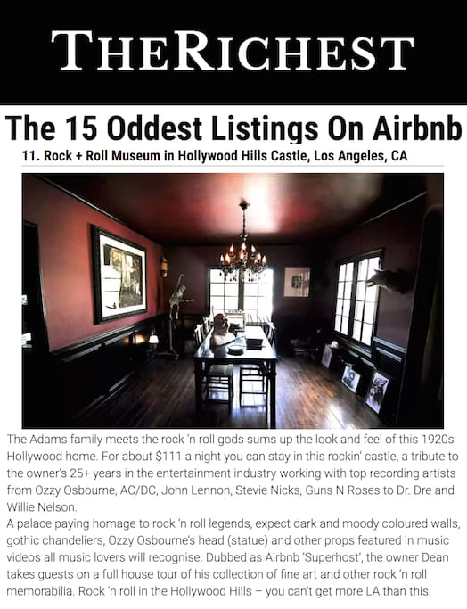 "VOTED 1 OF THE 15 ""ODDEST"" AIRBNB's IN THE WORLD BY RICHEST MAGAZINE"