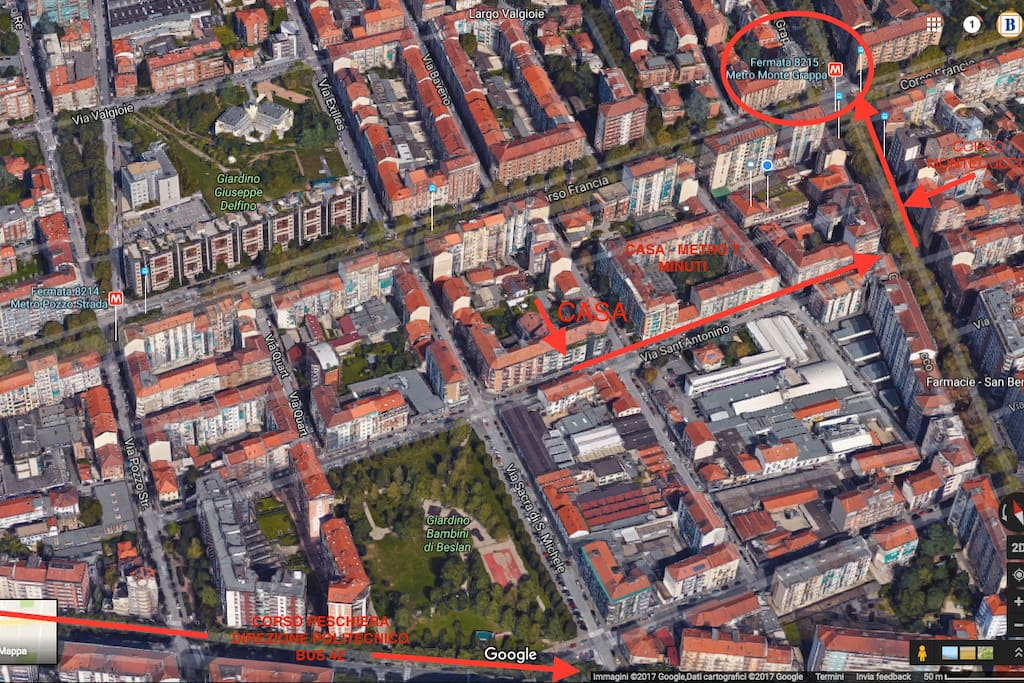 MAPPA CASA-METRO/ VIEW HOUSE TO METRO AND BUS 42 TO POLITECNICO UNIVERSITY
