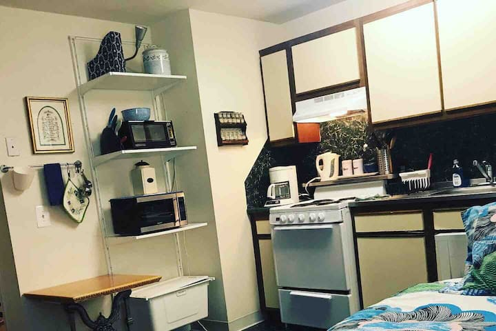 The apartment includes all the basic supplies you'll need for a quick or an extended visit.