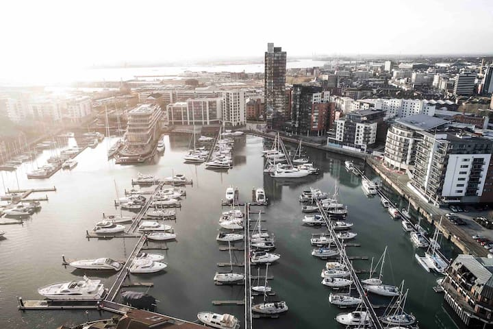 An aerial photo of Ocean Village Marina.