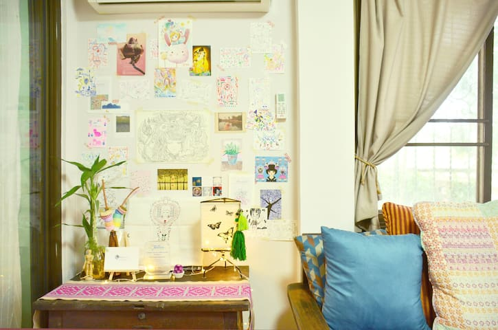 Decorating wall with the drawing conversation game card.