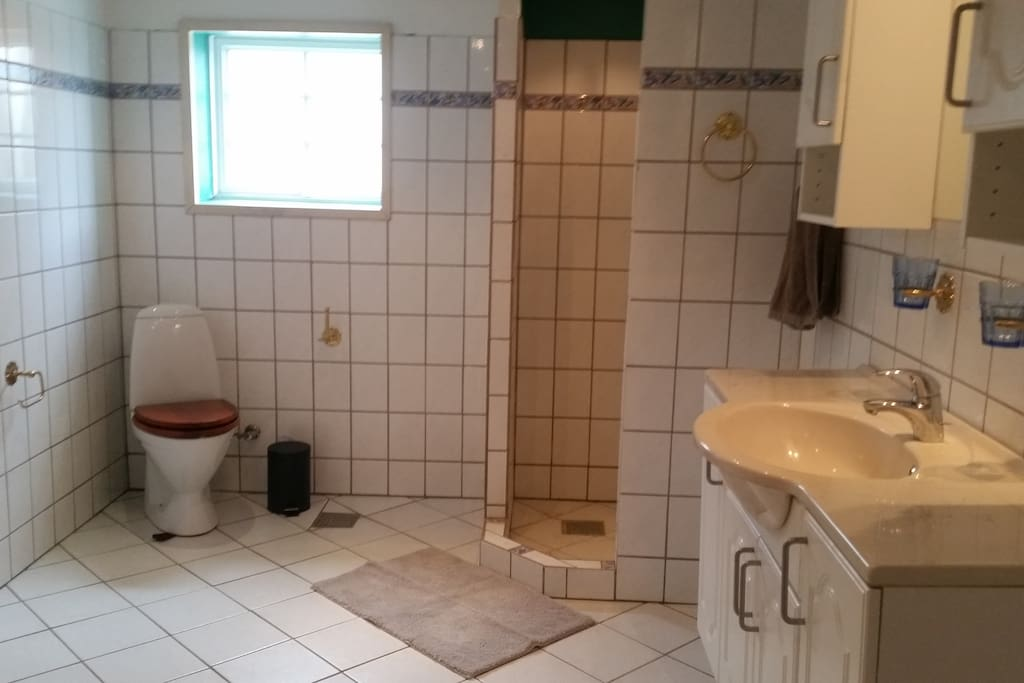 Fælles badeværelse med brus