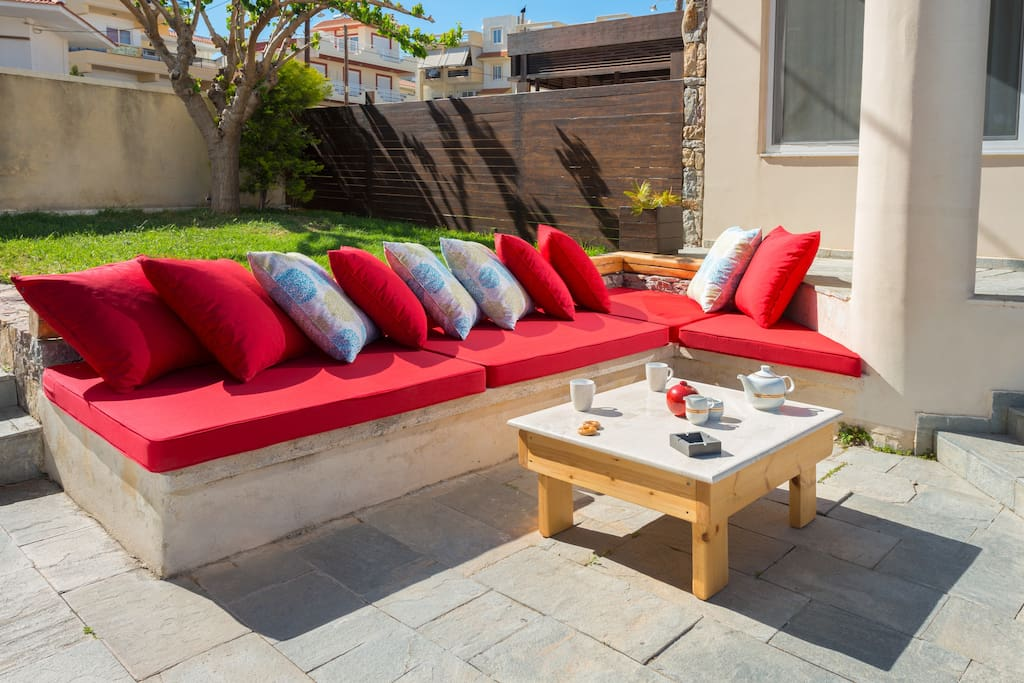 Huge outside sofa with pillows