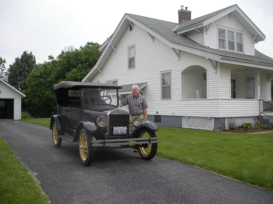 Greg Bragg with his 1926 Model T, the year the Hart House was built!