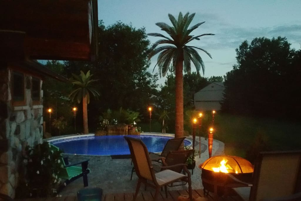 Heated Pool with waterfall and MN Palm Trees