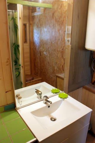 Le lavabo, il est bo il est bo, et la douche derrière, avec les serviettes livrées.
