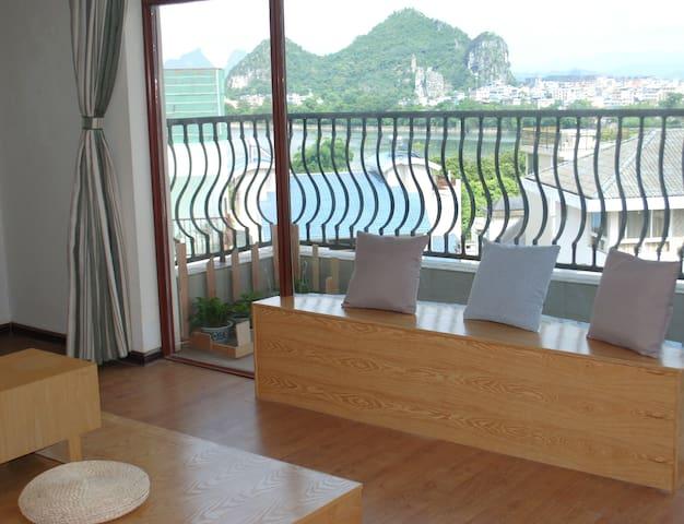 在桂林可看漓江、看山景的安静旅舍,简约独立房间(大床间) - Guilin - Appartement