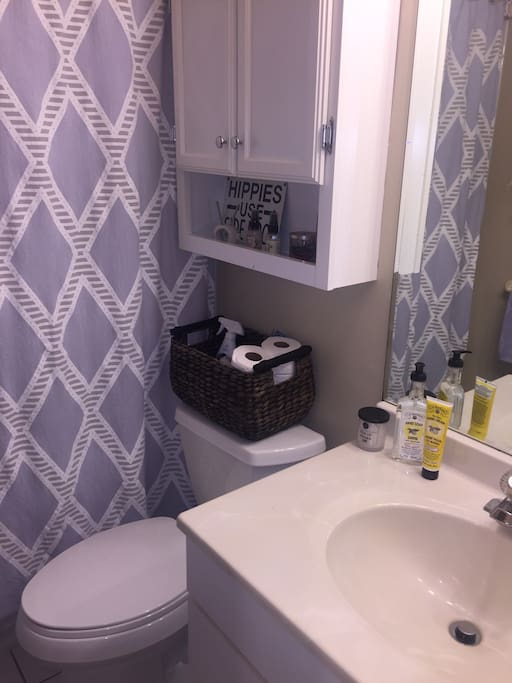 All amenities included; shampoo, conditioner, body wash, soap, towels and more