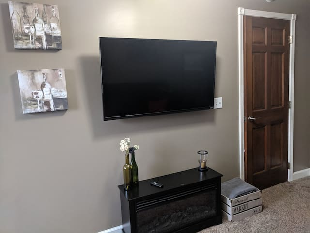 """48"""" Smart TV and Fireplace"""