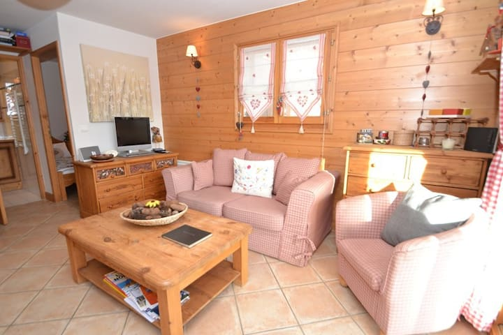 Cosy 2 bed 2 bath apt for 4, opposite the slopes, in main street!