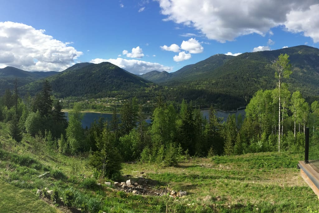 everywhere you look is lush greenery, mountains, and lake views