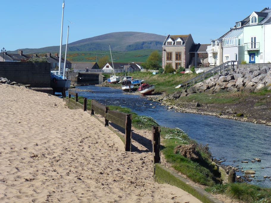 River Lazy meets the sea. Black Combe mountain behind