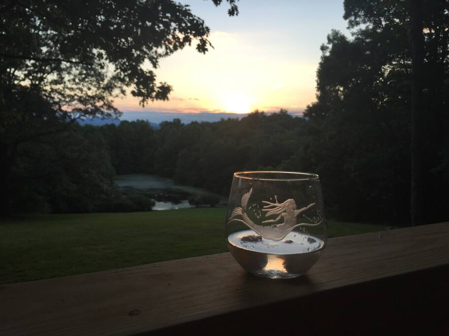 Gorgeous sunsets with some local wine