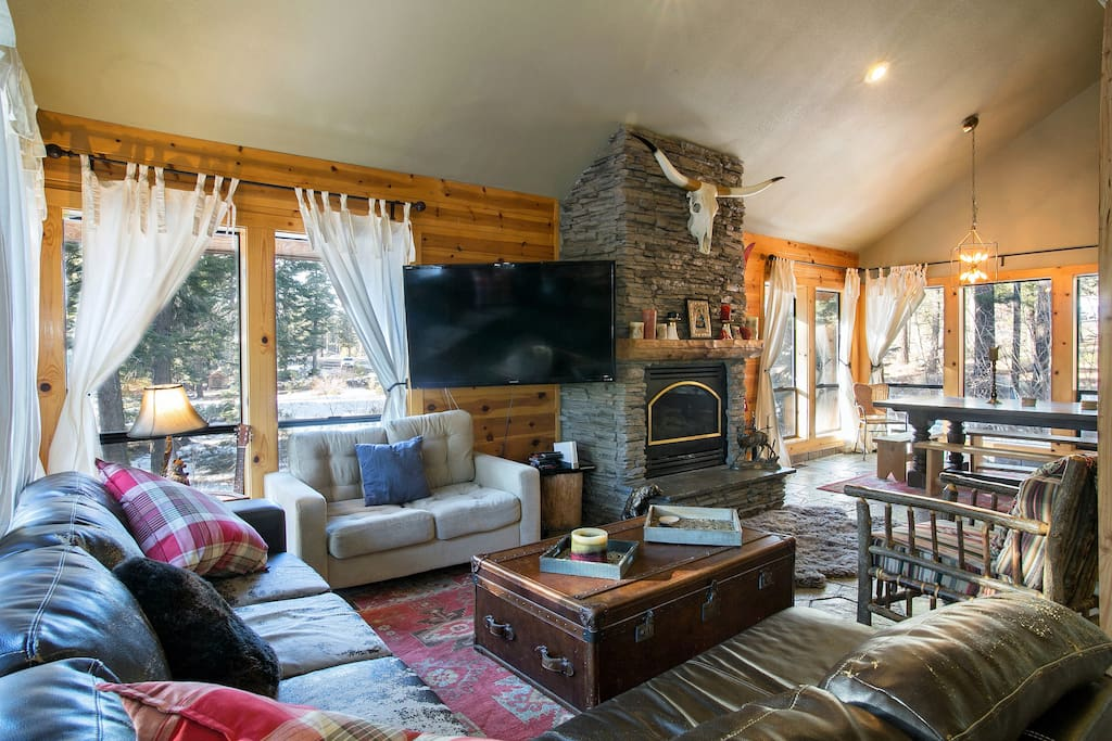Enjoy a movie or a card game by the fire in the cozy family room