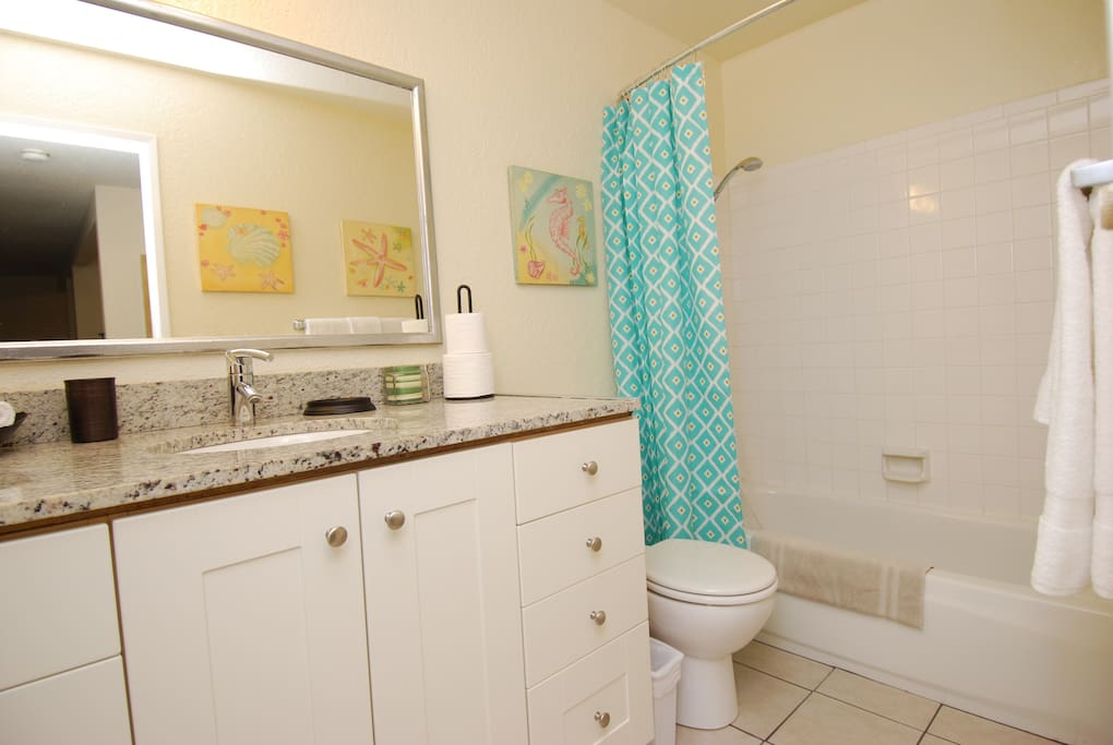 Bath with tub, tall vanity