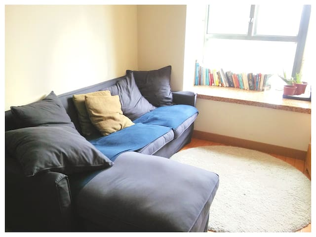 Living Room, Couch Fits 3 Comfortably. Lots of Light with View of the Neighborhood.