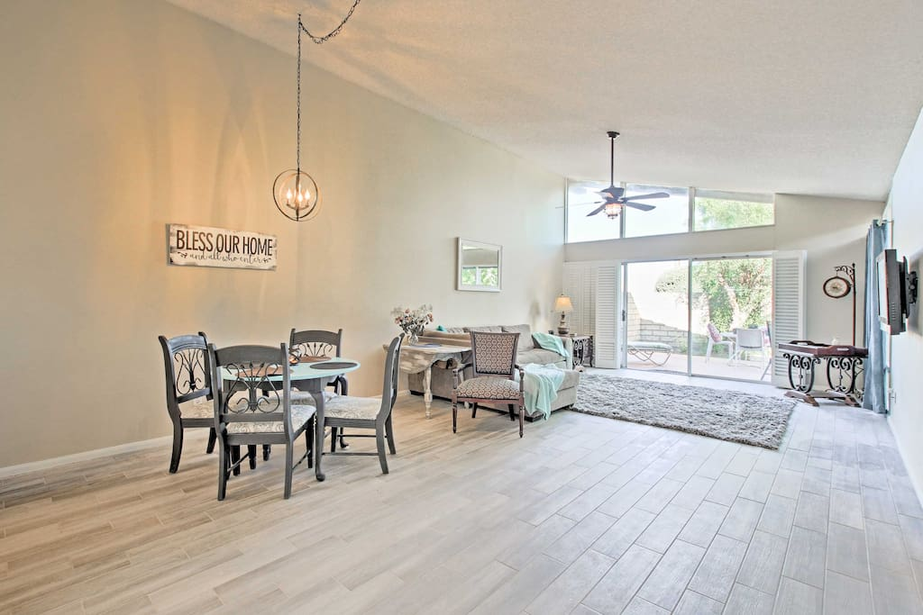 Dramatic vaulted ceilings and bright, airy decor welcome you into this condo.