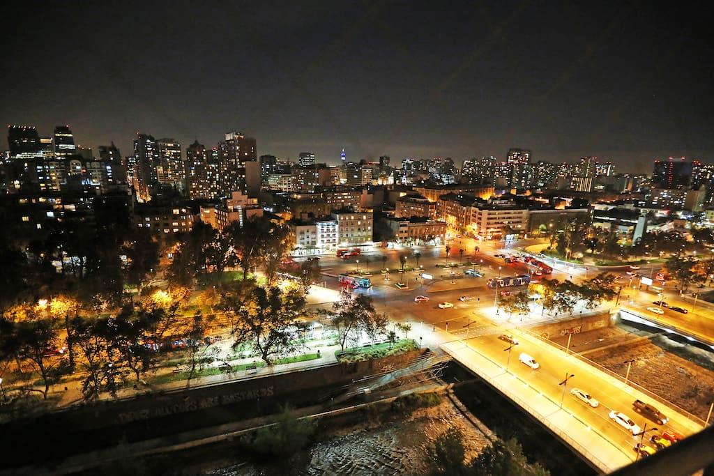 Apartment balcony (17th floor), view Santiago Center, Entel Tower, Forestal Park, Mapocho River and Mercado Central