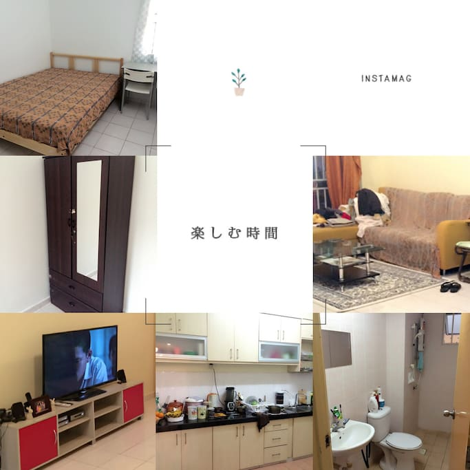 Bedroom, living room, kitchen and bathroom.