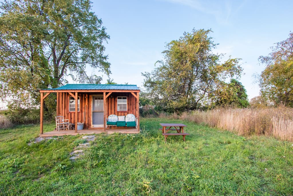 Another view of the Conservation Reserve cabin: birding, napping, reading retreat way back in our 140 acre reserve.