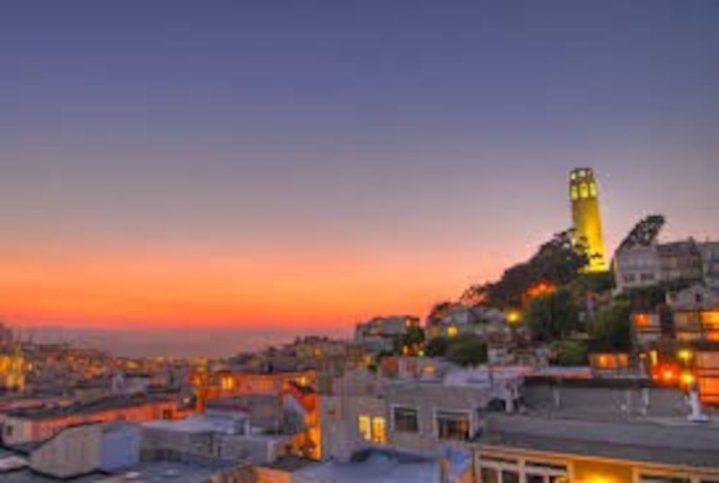 Great view of Coit Tower from your private deck