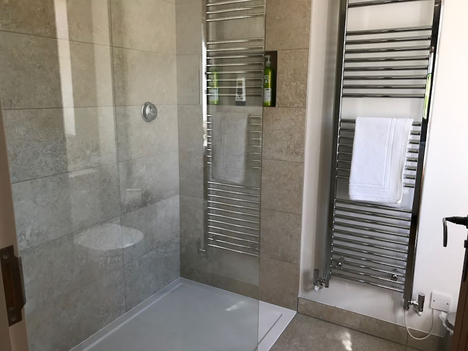 Large walk in modern shower ensuite