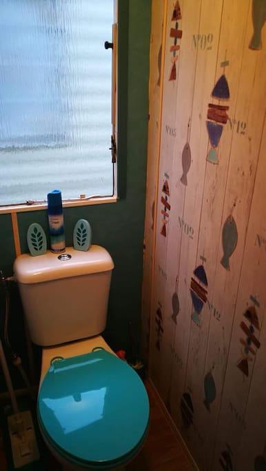 Toilettes séparés de la salle de bain, desolée je n'ai pas penser à la prendre en photo...