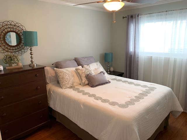 The master bedroom hosts a brand new queen sized mattress and bedding, lamps, Fire TV, and more. Each bedroom comes with a sound machine for sleeping as well as easily accessible power ports.