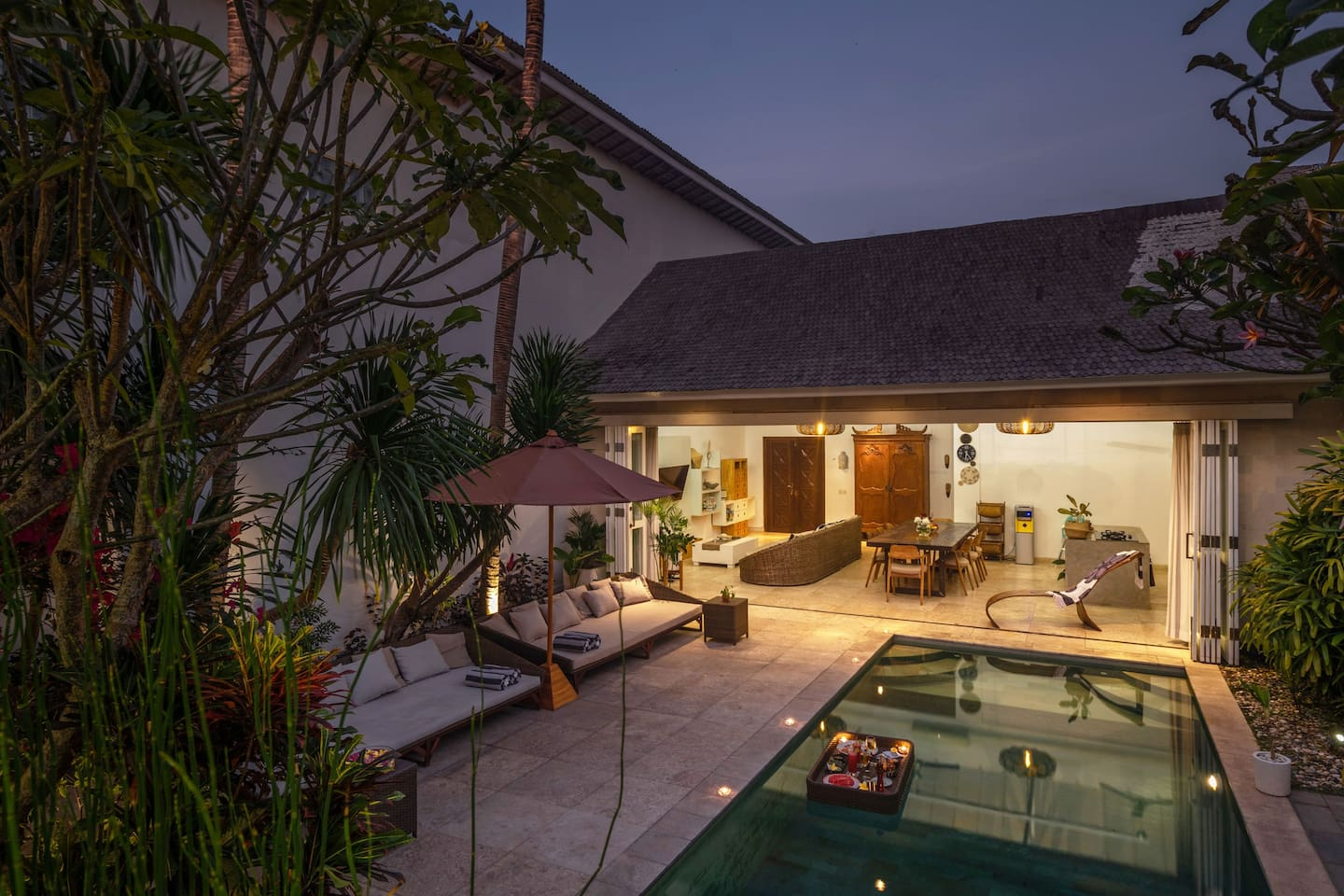 Enjoy the cosy and big pool area with several seat options.