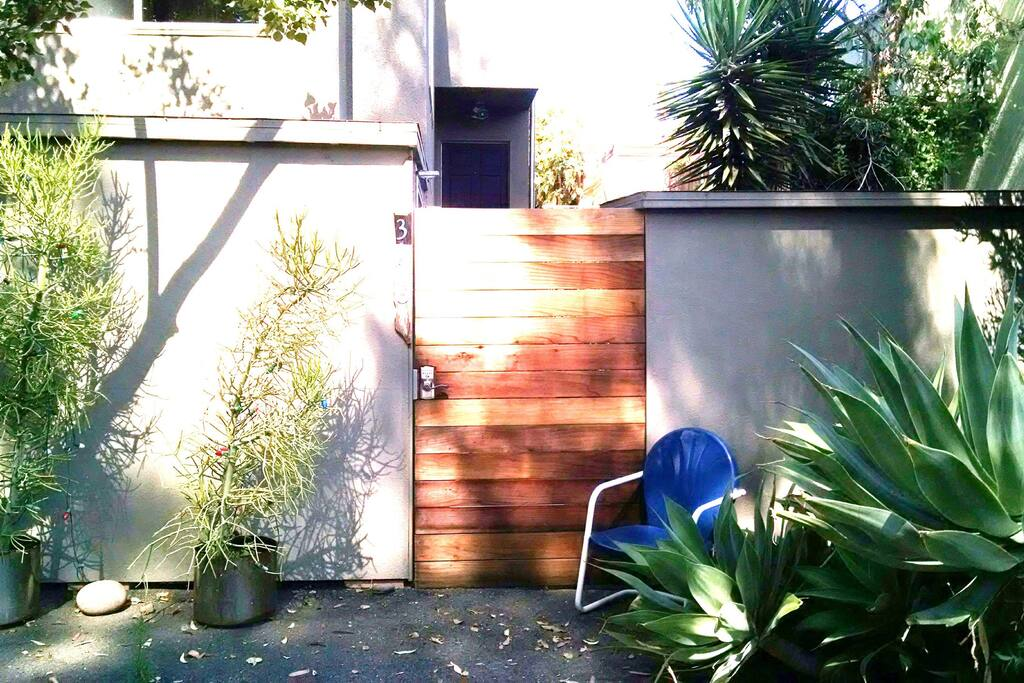 Private front entrance with locked gate