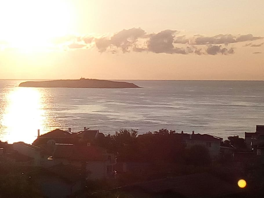 Sunrise over St Ivan  Sozopol from the Apartment Villa