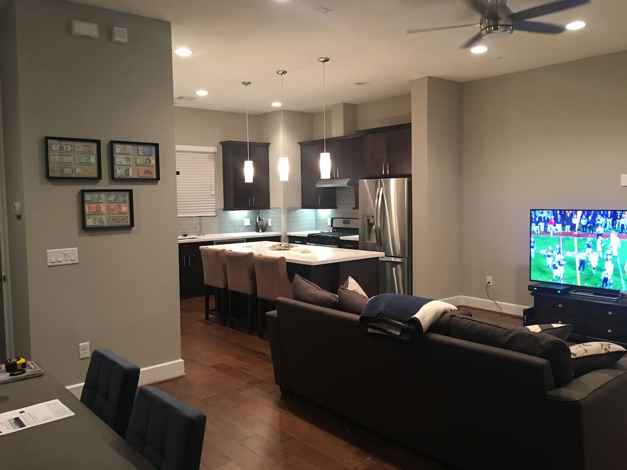 Living room, Kitchen with large island on 2nd floor.