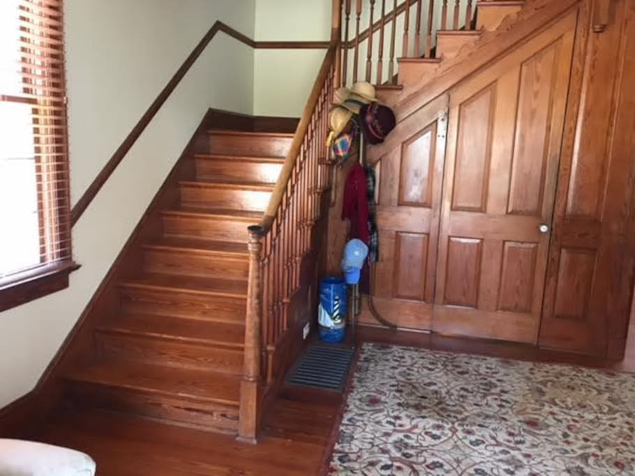 Stairs that go up to the bedroom