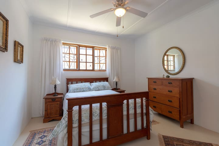 Bedroom with double bed. High quality 100 % cotton linen