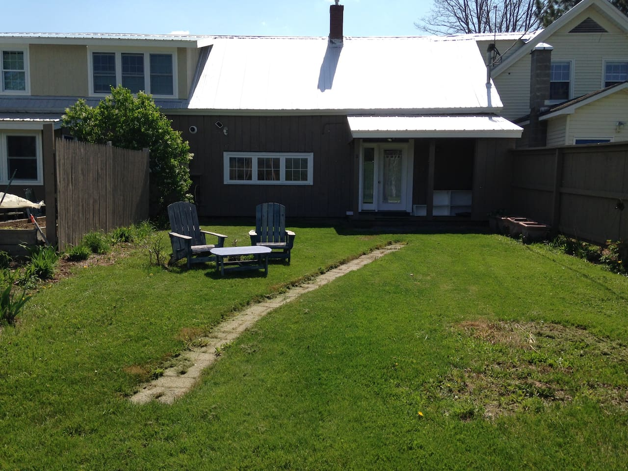 Yard and porch in spring