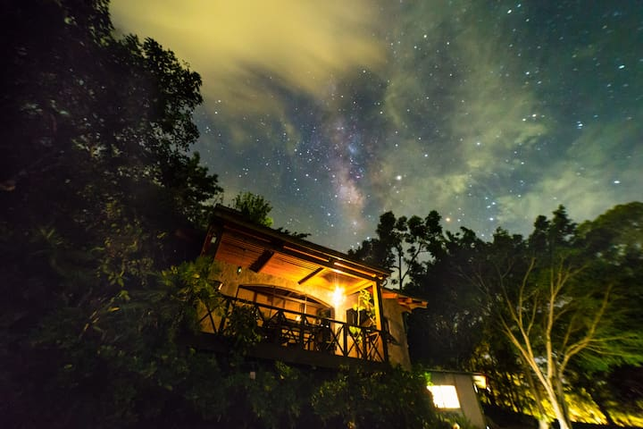 The house on a starry night.