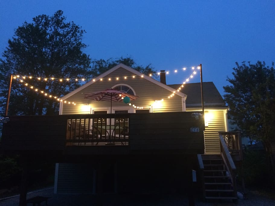 String lights on the deck for a perfect summer BBQ.