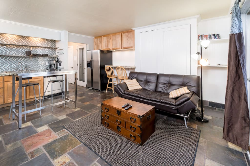 Open floor plan makes it easy for the whole group to gather.