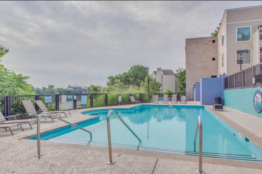 Unwind in the riverfront pool!