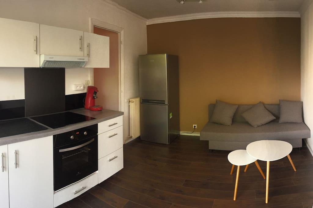 Salon avec cuisine équipée et canapé convertible