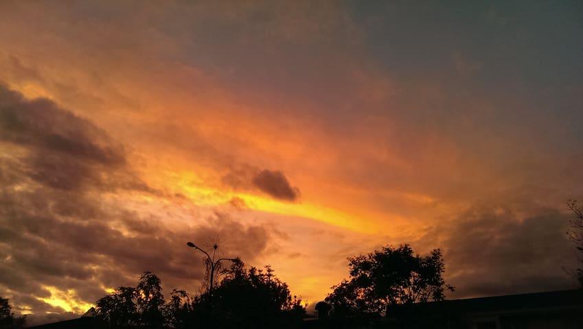 Spectacular sunset over Te Anau.