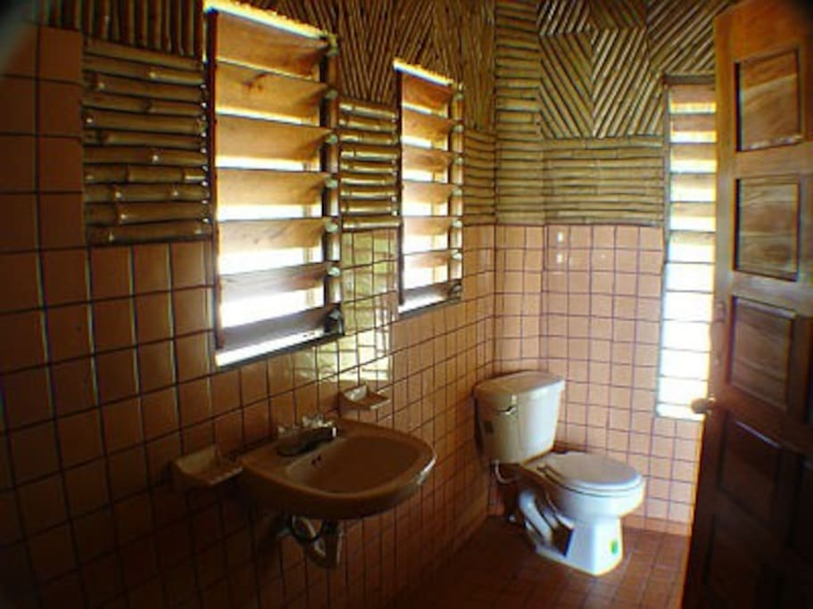 All tile private bathroom with Hot and Cold water from our own deep well.