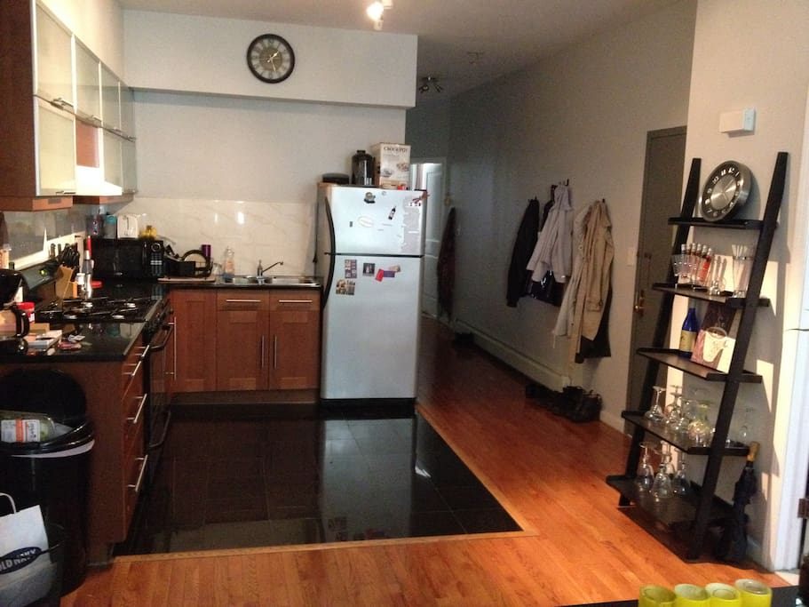 Kitchen has dishwasher and gas stove.