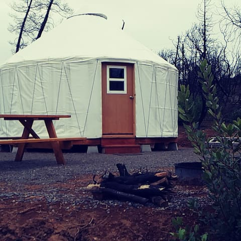 Rock House Yurt in the woods