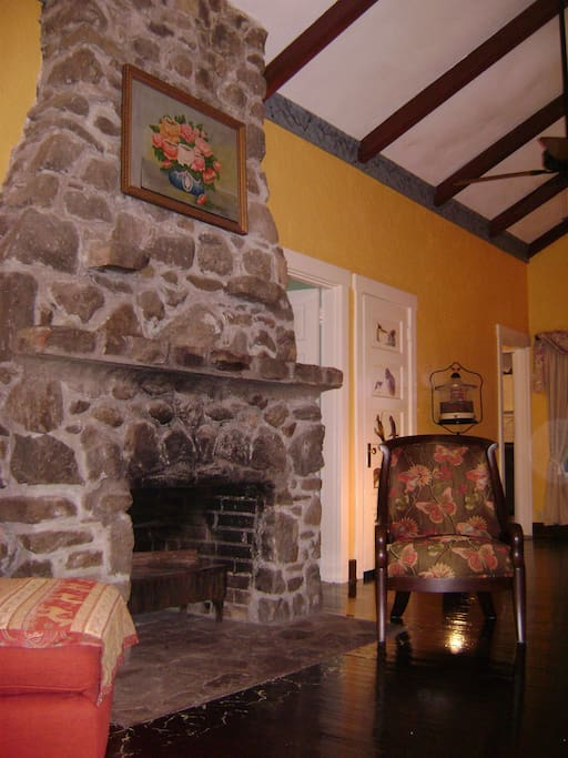 Another view of the great room fireplace. It's about 13 feet high and is in two rooms.