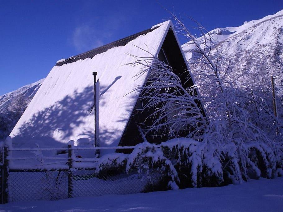 cabaña en pleno invierno. Hermoso!!!